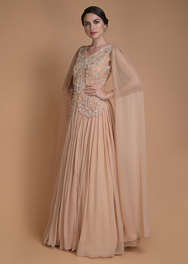Apricot Peach Indowestern Gown With Floral Embroidered Bodice And Attached Dupatta Online - Kalki Fashion