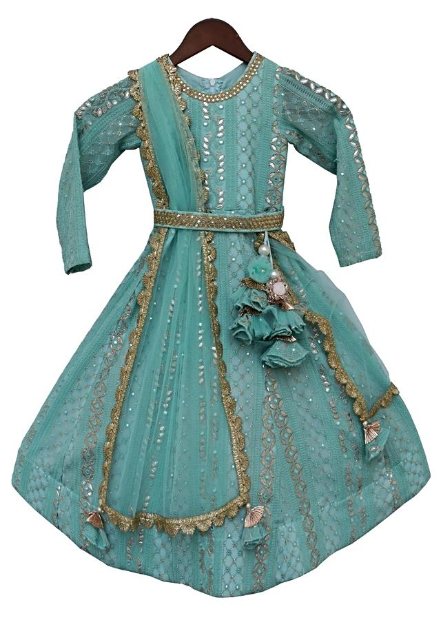 Aqua Blue Anarkali Suit With Lucknowi And Gotta Work By Fayon Kids