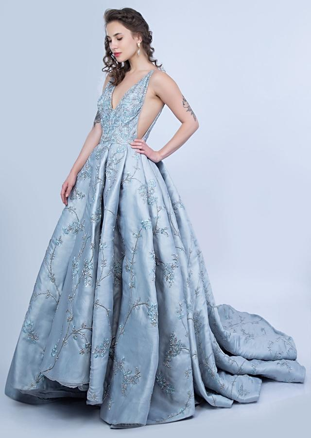 Aqua Blue Evening Gown In Organza With Box Pleats And A Log Back Trail Online - Kalki Fashion