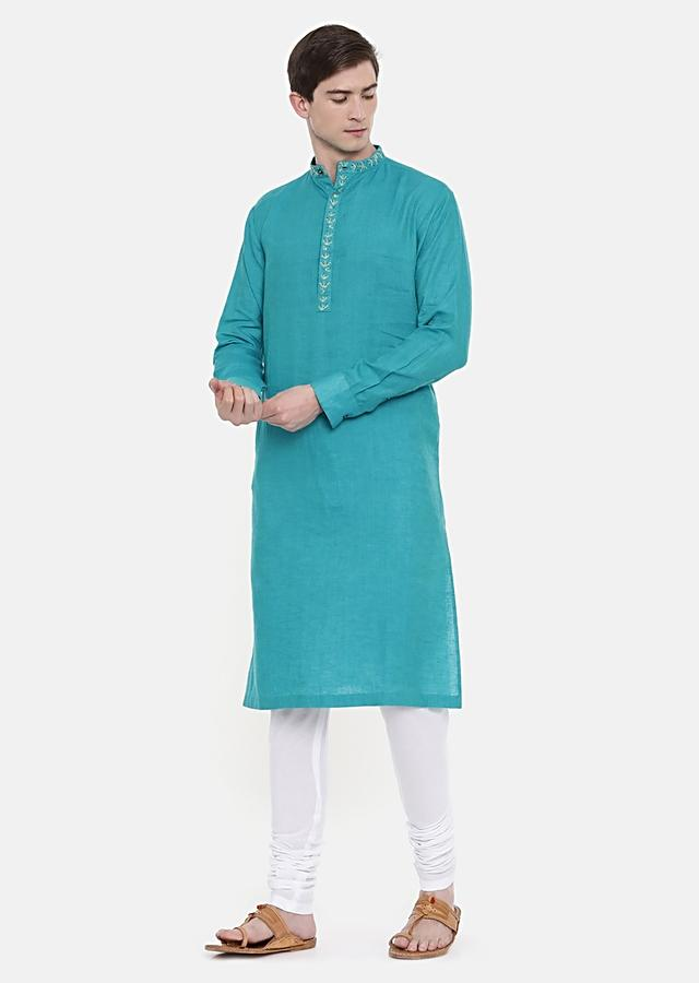 Aqua Blue Kurta And Churidar Set In Linen With Subtle Embroidery On The Placket By Mayank Modi