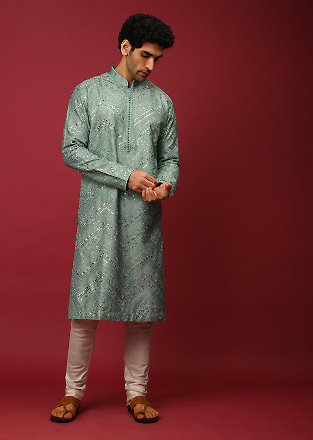 Aqua Blue Kurta Set In Raw Silk Heavily Embroidered With Resham And Mirror Embroidery In Floral And Chevron Design Online - Kalki Fashion