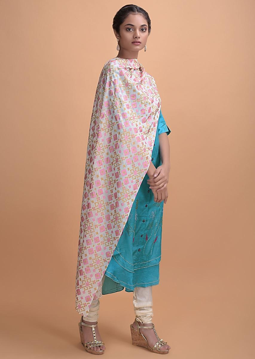 Aqua Blue Kurti In Crepe With Thread Embroidery And Patola Printed Dupatta Online