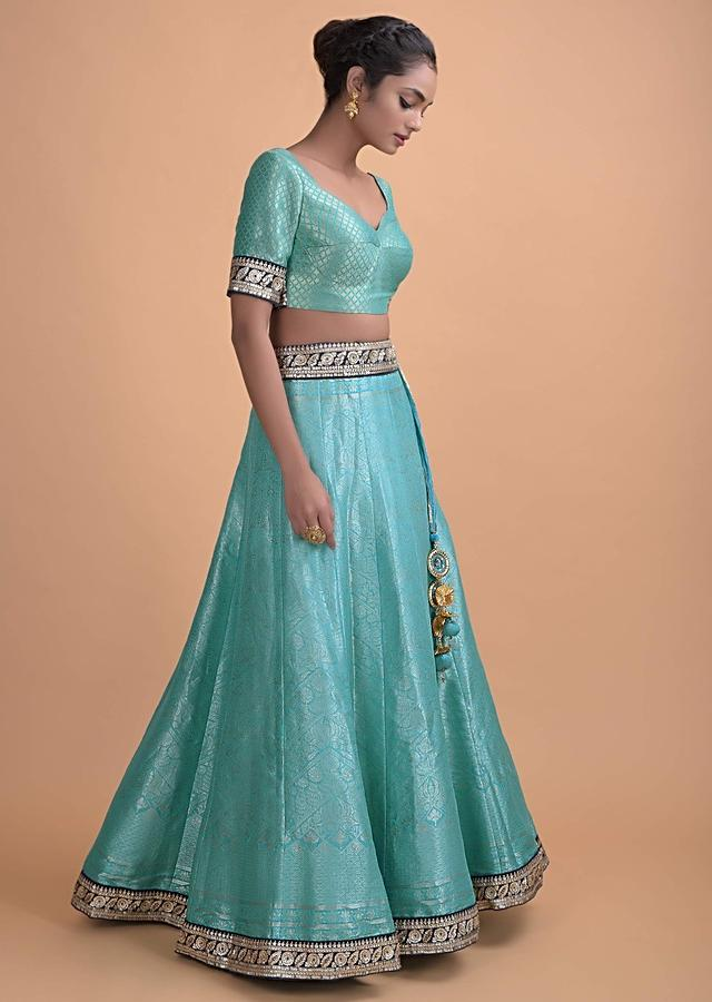 Aqua Blue Lehenga In Brocade Silk With Weaved Jaal Pattern All Over Online - Kalki Fashion