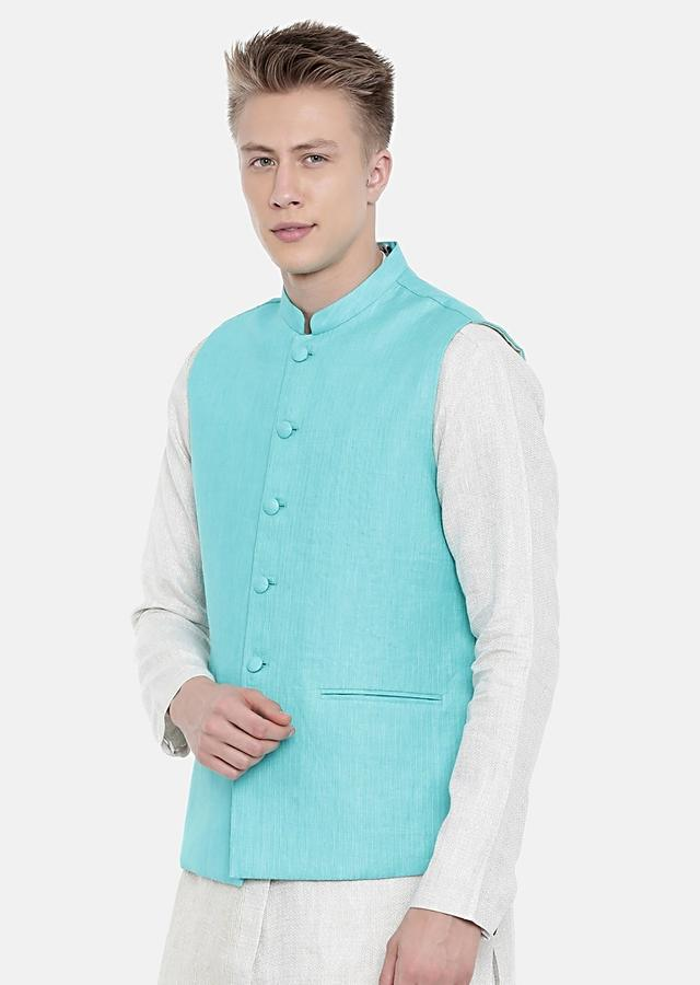 Aqua Blue Nehru Jacket In Linen With Self Toned Running Stitch On One Side By Mayank Modi
