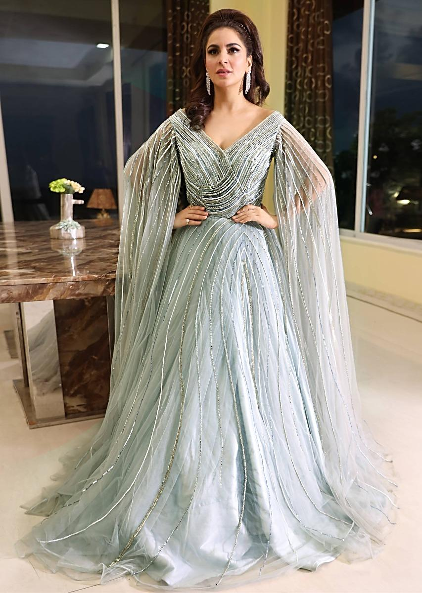 "Shraddha Arya in Kalki Aqua Blue Off Shoulder Net Gown With Flared Sleeves"" title=""Shraddha Arya in Kalki Aqua Blue Off Shoulder Net Gown With Flared Sleeves"