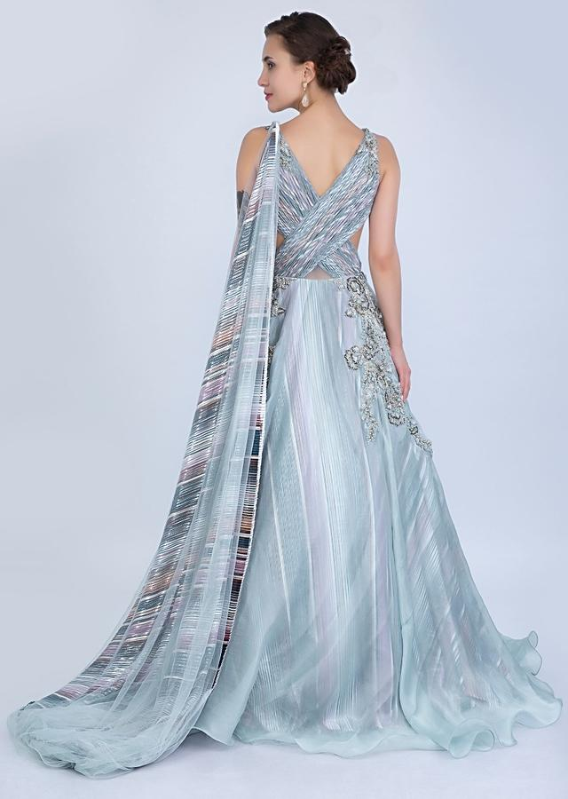 Aqua Blue Gown In Organza With Over Lapping Ruching Bodice Online - Kalki Fashion
