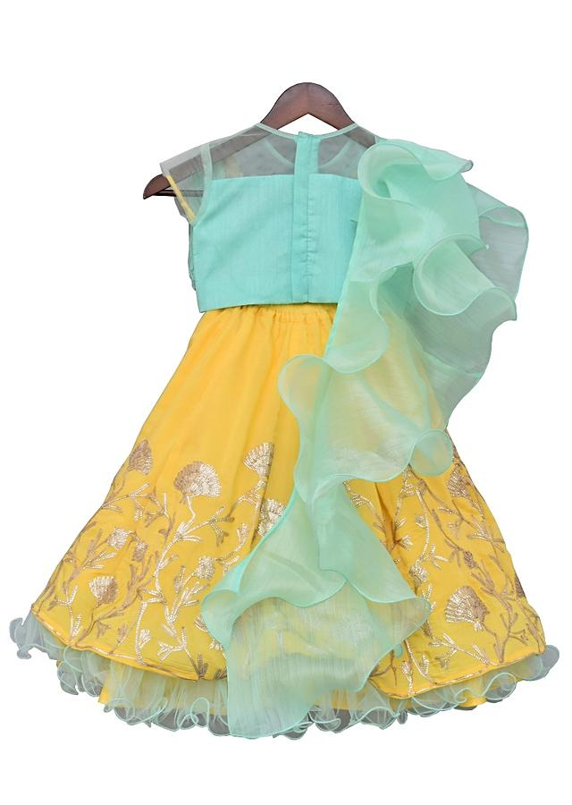 Aqua Blue Tassel Top With Yellow Gotta Lehenga And Frill Dupatta by Fayon Kids
