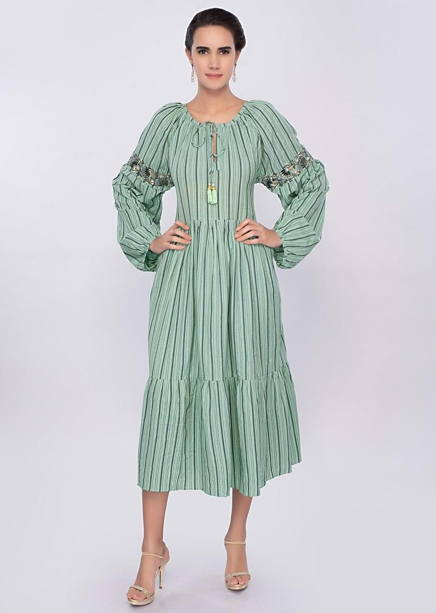 e5fd4bc1cc61 Aqua green cotton tunic dress with faded stripes and gathers only on Kalki