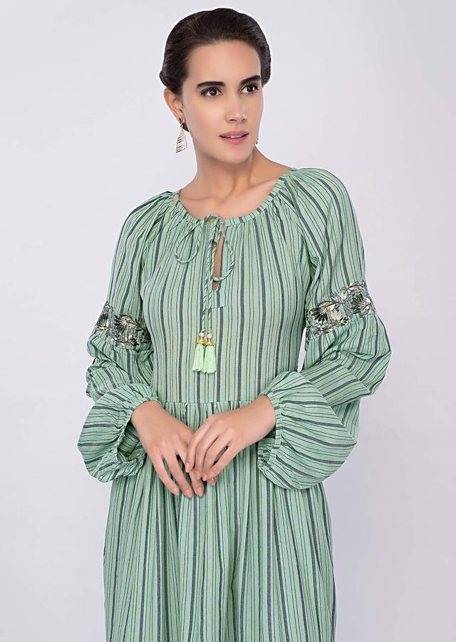 Aqua green cotton tunic dress with faded stripes and gathers only on Kalki