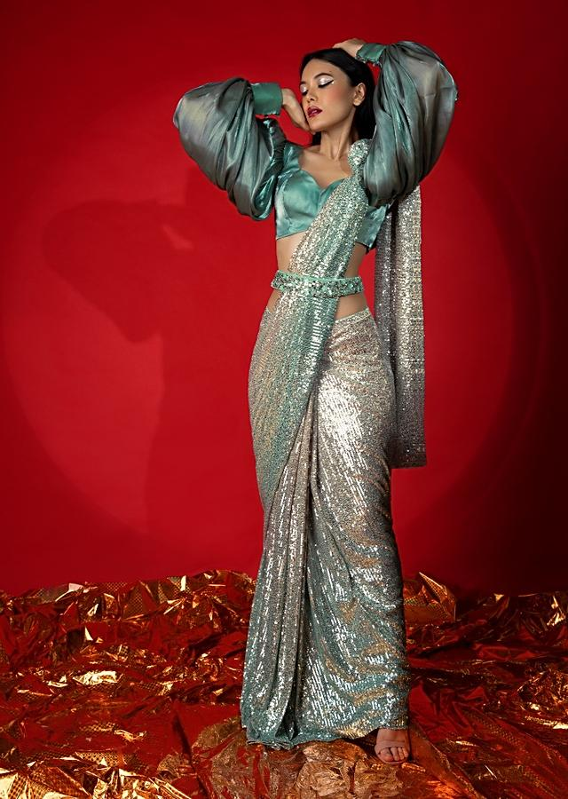 Aqua Green Ombre Ready Pleated Saree In Sequins Fabric With A Aqua And Grey Organza Blouse With Elaborate Balloon Sleeves Online - Kalki Fashion