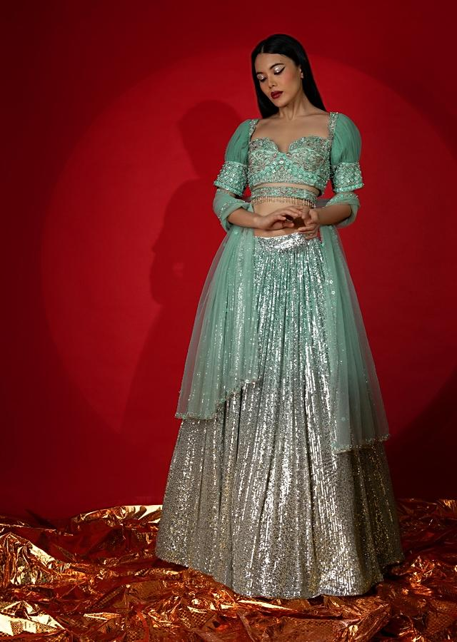 Aqua Green Ombre Sequins Lehenga With Hand Embroidered Choli Featuring Half Puffed Sleeves Online - Kalki Fashion
