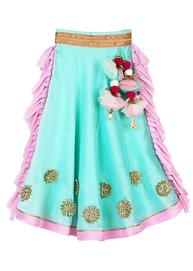 Aqua Lehenga With Gotta Work And Frill On The Sides And Floral Printed Pink Crop Top Online - Free Sparrow