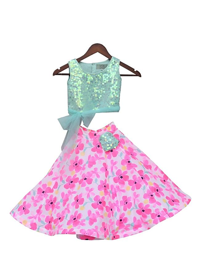 Aqua Top With Soft Sequins And Printed Skirt by Fayon Kids