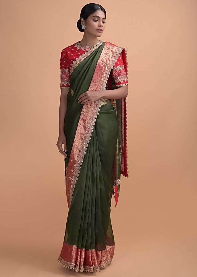 Army Green Plain Saree In Organza With Weaved Pattern And Zari Lace On The Border Online - Kalki Online