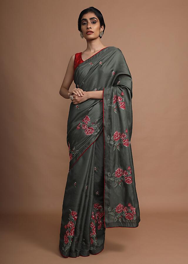 Army Green Saree In Silk With Colorful Resham Embroidered Rose Motifs Along The Border Online - Kalki Fashion