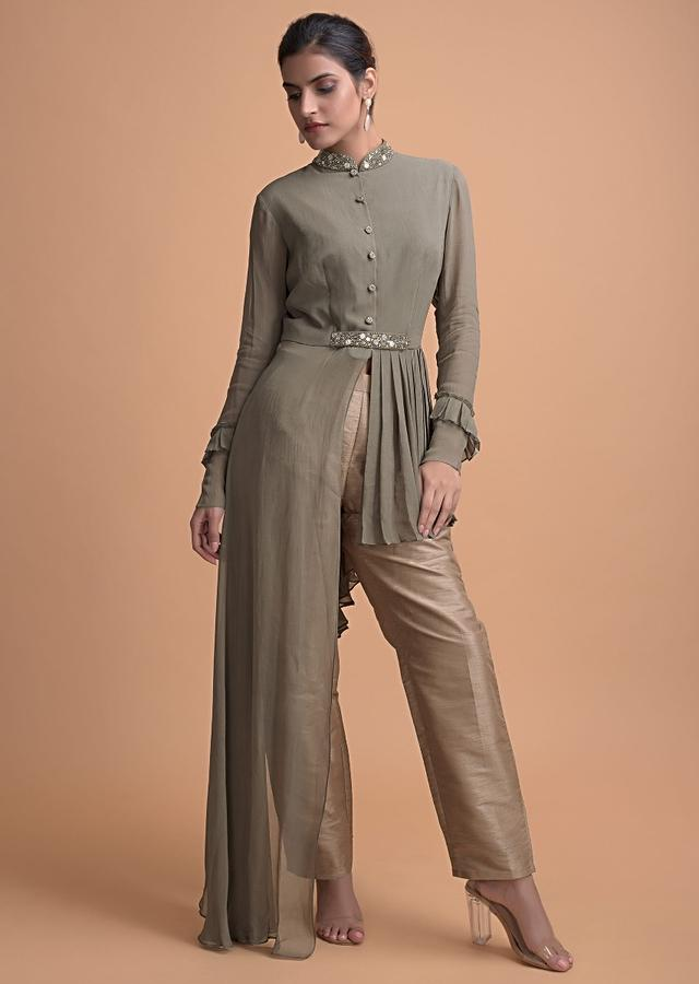 Artichoke Green Asymmetric High Low Top With Pleat Details And Beige Straight Cut Pants Online - Kalki Fashion