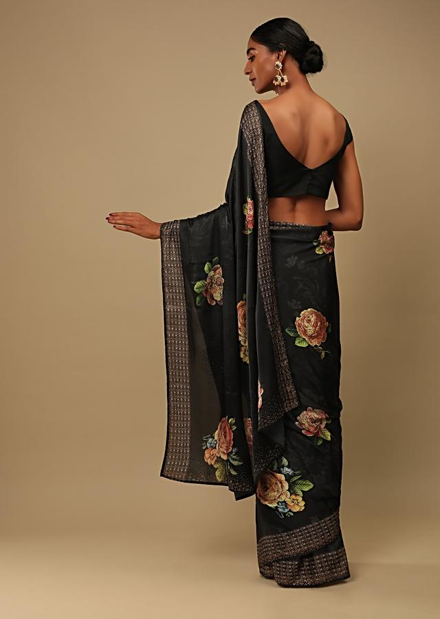 Ash Black Saree In Satin Crepe With Rose Print And Kundan Detailed Border Along With Unstitched Blouse Online - Kalki Fashion