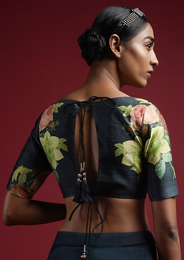 Ash Blue Blouse In Raw Silk With Floral Print And Half Sleeves Online - Kalki Fashion