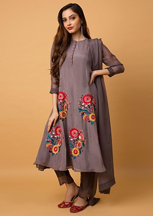 Ash Grey A Line Suit With Colorful Aari Thread Embroidered Floral Motifs Online - Kalki Fashion