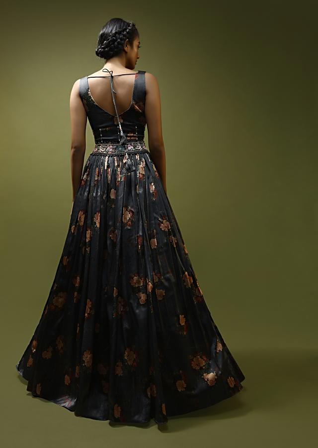 Ash Grey Lehenga Choli In Satin With Floral Print And Sheer Panel Detailing Along With Sequins And Beads Work  Online - Kalki Fashion