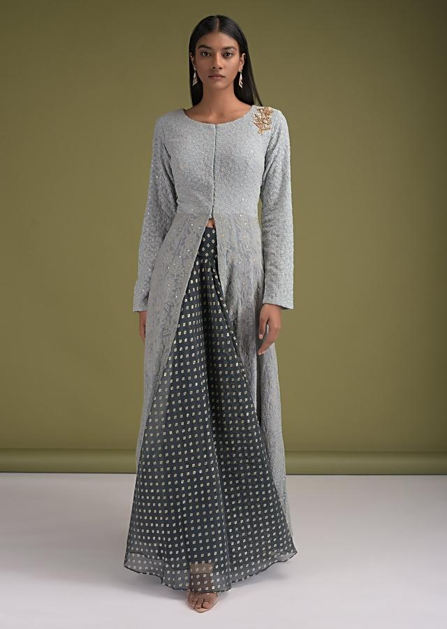 Ash Grey Skirt In Organza With Foil Printed Buttis And Long Ice Blue Kurti With Lucknowi Work Online - Kalki Fashion