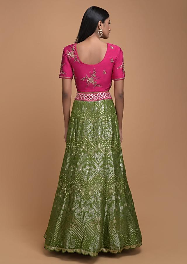 Asparagus Green Lehenga In Brocade Silk With Weaved Floral And Chevron Pattern All Over Online - Kalki Fashion