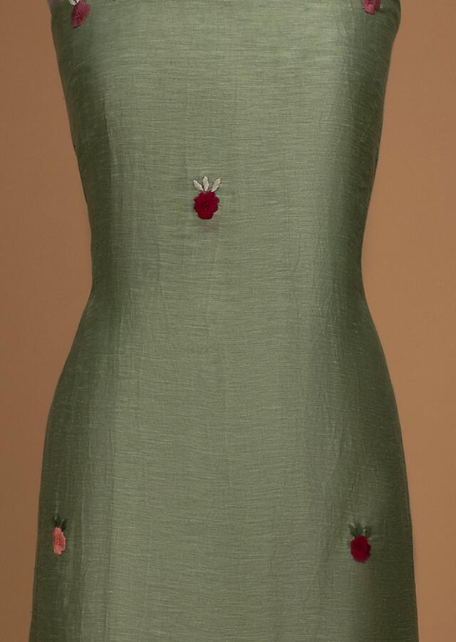 Asparagus Green Unstitched Suit With Thread Embroidered Floral Pattern Online - Kalki Fashion