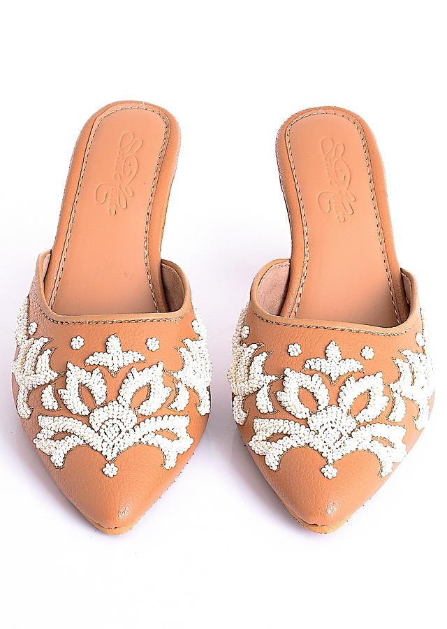 Ava in Beige Heeled Mules With 3D Bead Embroidery And Gold Zari Work By Sole House