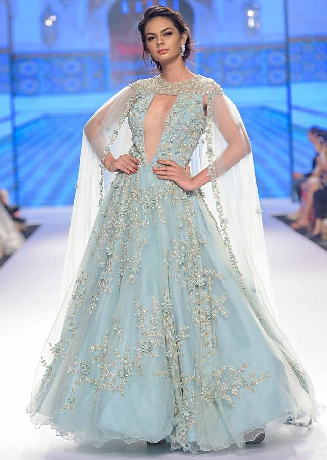 Aviary Blue Flared Net Gown With Double Circular Pattern And Net Trail Online - Kalki Fashion