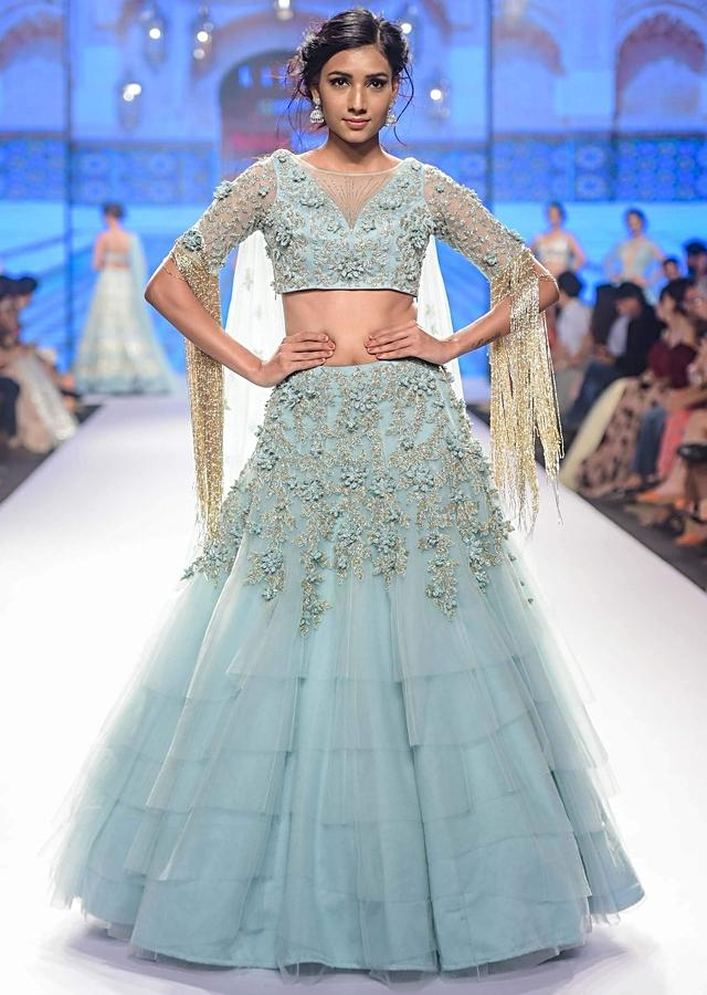 Aviary Blue Layered Lehenga Set In Net Adorned With 3 D Embroidered Flowers And Veils Online - Kalki Fashion