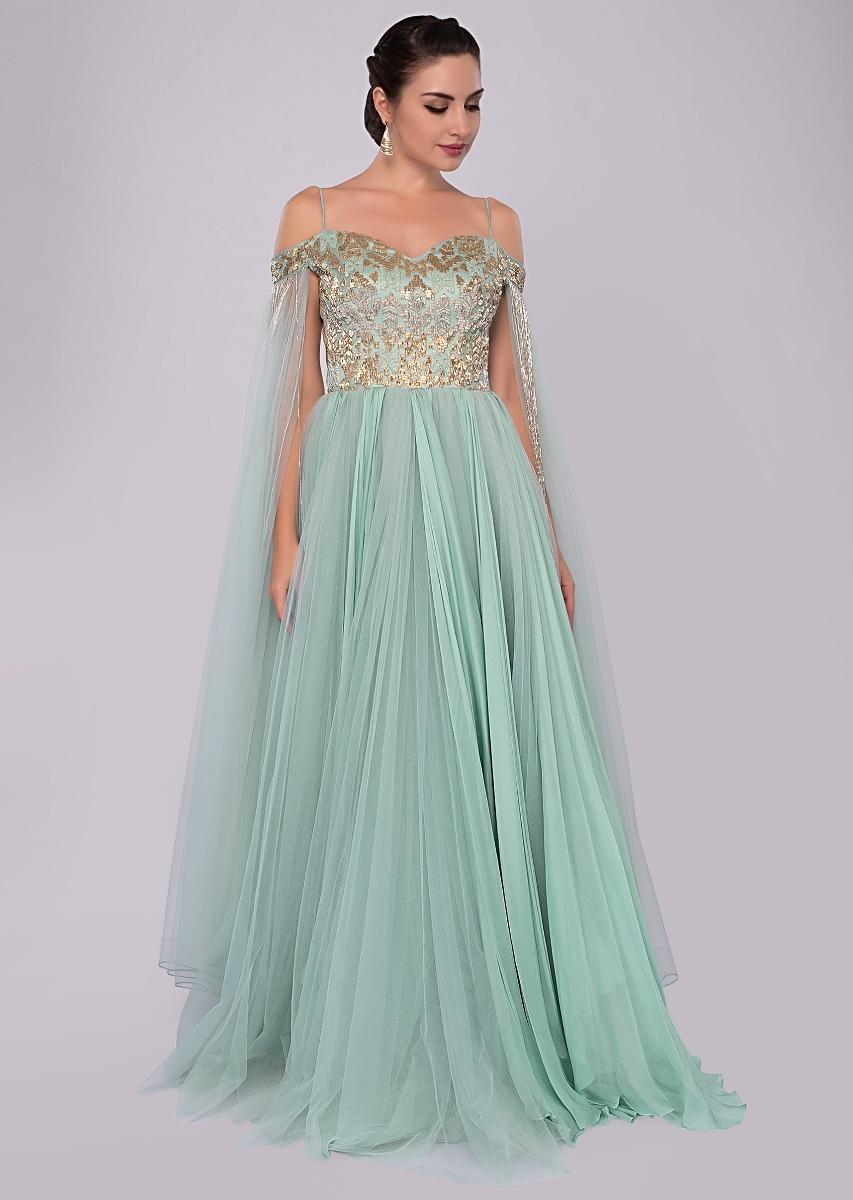 abc1f3508e62 Aviary blue off shoulder gown with flared sleeves only on Kalki