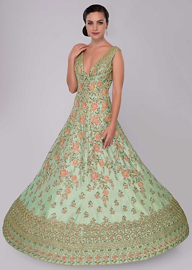 Aviary Blue Anarkali Dress In Floral , Moroccan And Geometric Embroidery Online - Kalki Fashion