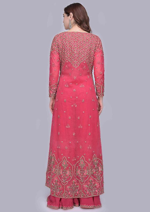 Azalea Pink Palazzo With A Heavy Embellished Bustier And A Long Net Jacket Online - Kalki Fashion