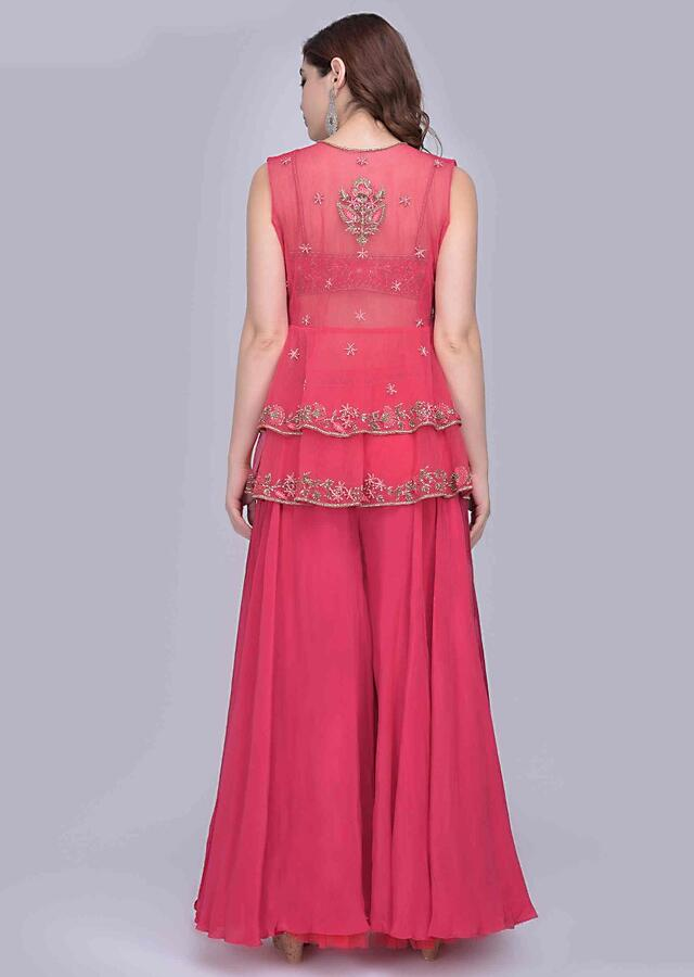 Anupriya Goenka In Kalki Azalea Pink Palazzo With Matching Embroidered Bustier And A Fancy Frilled Net Jacket