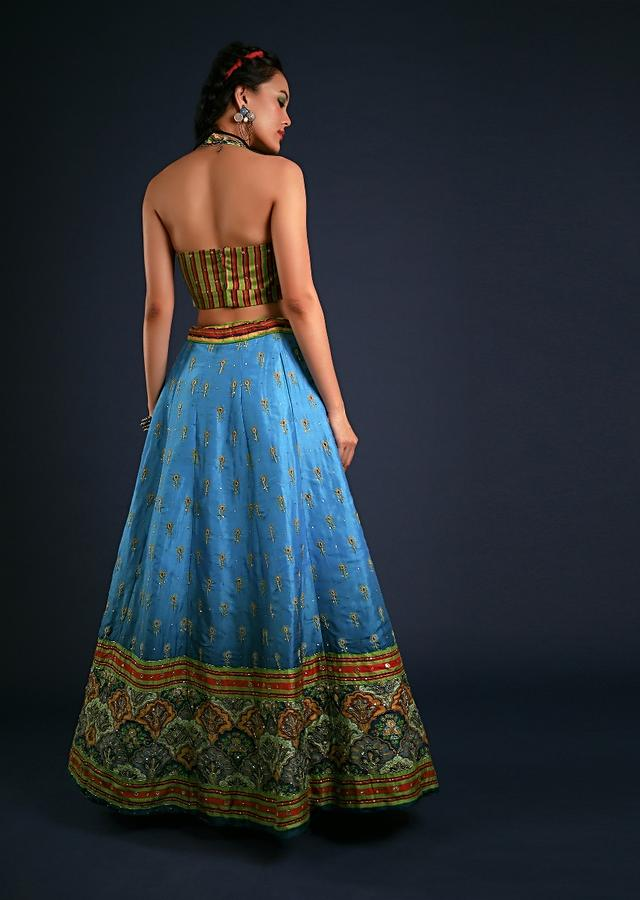 Azure Blue Lehenga In Silk With Floral Printed Buttis And Colorful Moroccan Border Along With Cut Dana Accents Online - Kalki Fashion