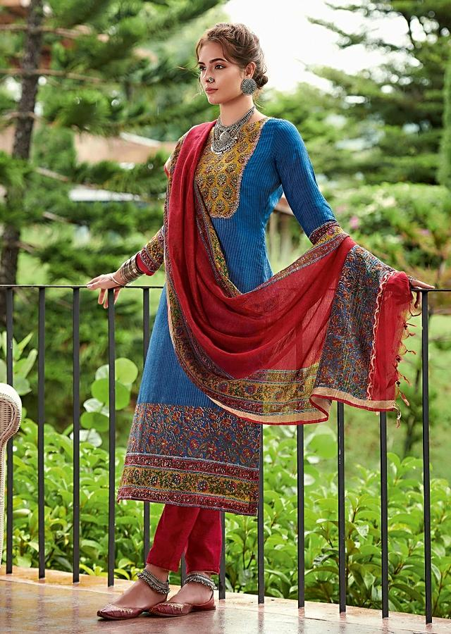 Azure Blue Straight Cut Suit In Tussar Silk With Block Printed Floral Motif Online - Kalki Fashion
