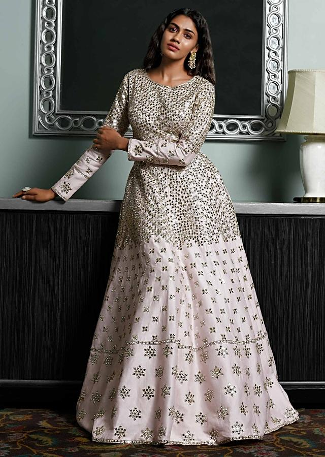 Baby Pink Anarkali Suit In Cotton Silk With Mirror Abla And Zari Work Online - Kalki Fashion