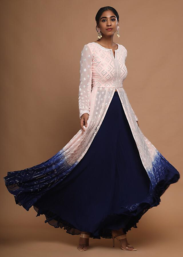 Baby Pink And Navy Blue Shaded Anarkali With Resham And Mirror Work And Navy Blue Palazzo Pants Online - Kalki Fashion