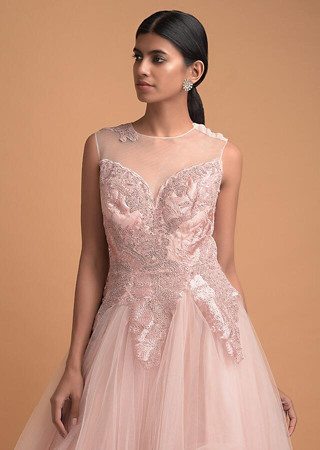 Baby Pink Ball Gown In Net With Cord And Thread Embroidered Abstract Pattern On The Bodice Online - Kalki Fashion
