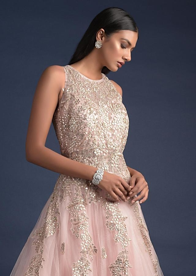 Baby Pink Ball Gown With Gotta Patch Embroidered Floral Pattern Online - Kalki Fashion