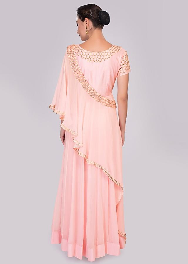 Baby Pink Anarkali Dress With Cut Dana Embroidery Paired With A Pre Stitched Georgette Dupatta Online - Kalki Fashion