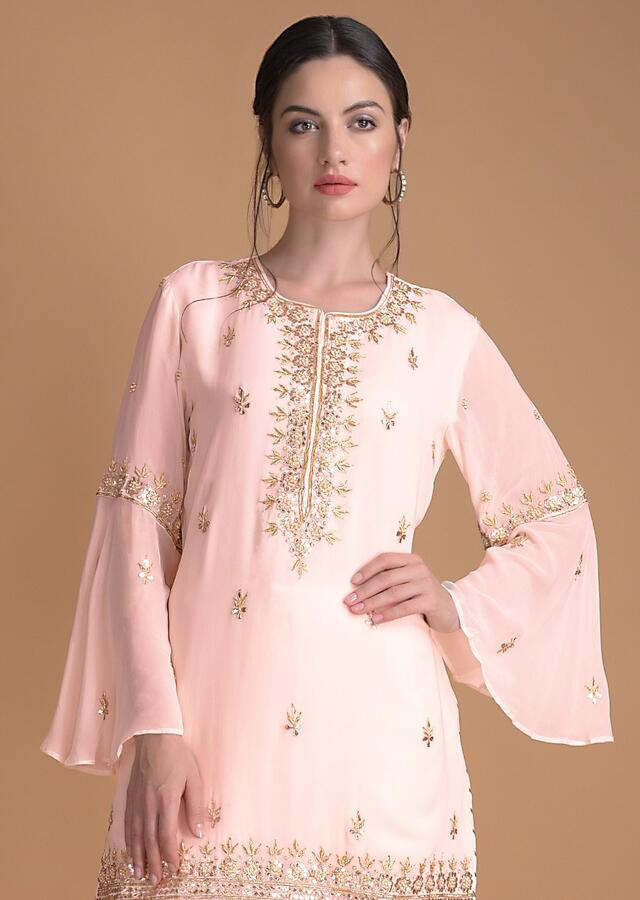 Baby Pink Dhoti Suit In Georgette With Gotta, Zardosi And Pearls In Floral Pattern Online - Kalki Fashion