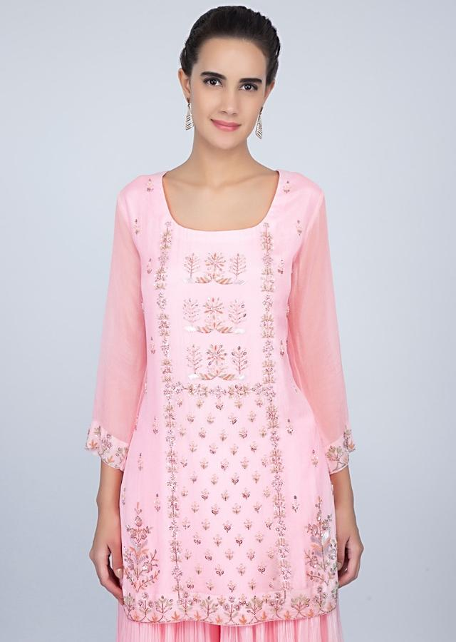 Baby Pink Suit With Embroidery Work And Crushed Palazzo And Pink Dupatta Online - Kalki Fashion