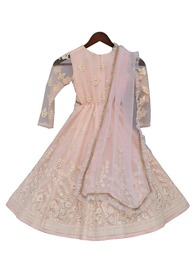 Baby Pink Anarkali Dress With Embroidery And Frill Dupatta by Fayon Kids