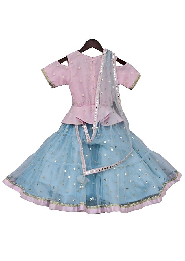 Baby Pink Peplum One Piece With Net And Embroidery Work by Fayon Kids