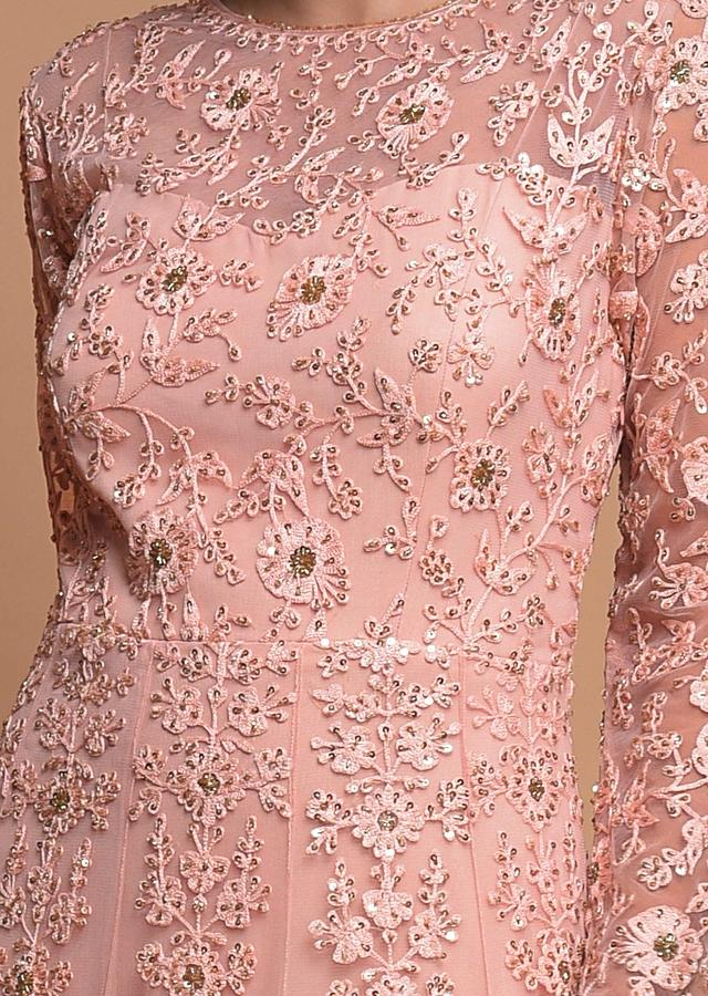 Baby Pink Indowestern Gown In Net With Embroidered Floral Jaal And Moroccan Pattern Online - Kalki Fashion
