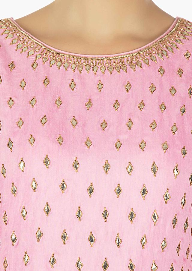 Baby Pink Kurti And Palazzo Embellished With Gotta Patch Work All Over Online - Kalki Fashion