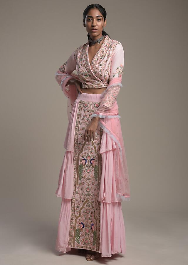 Baby Pink Layered Skirt And Crop Top With Embroidered Center Panel And Lapel Collar Neckline Online - Kalki Fashion