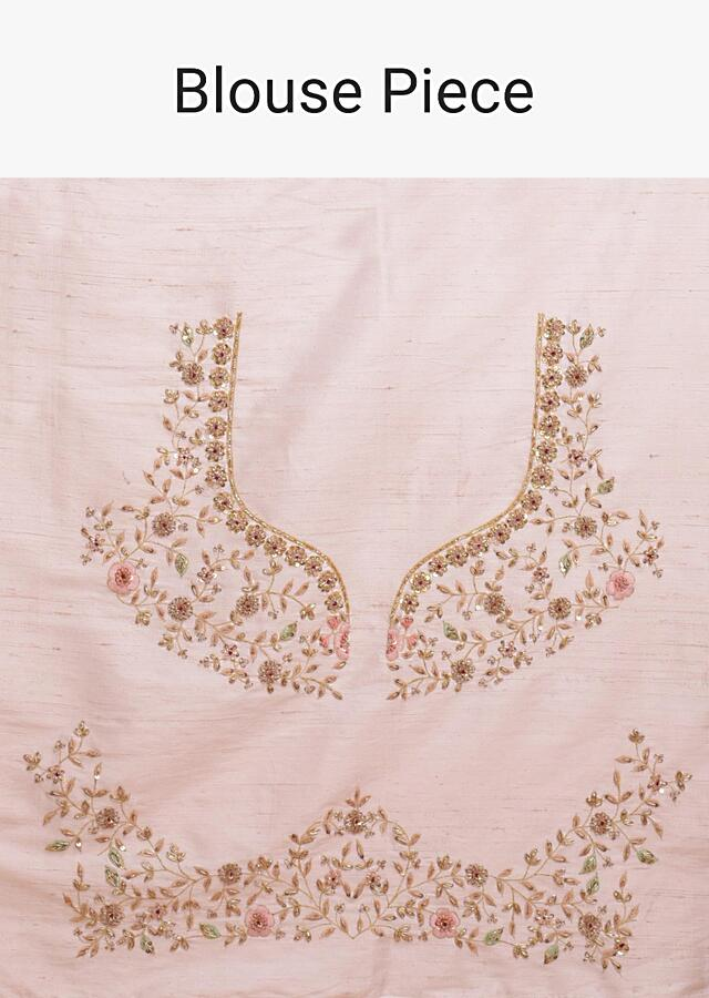 Baby Pink Lehenga Choli With Embroidered Moroccan And Nature Inspired Motifs Online - Kalki Fashion