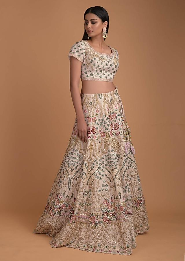Baby Pink Lehenga Choli With Resham Embroidered Floral Pattern  Online - Kalki Fashion